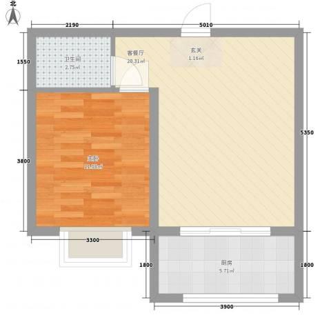 长缨新座1室1厅1卫1厨57.00㎡户型图