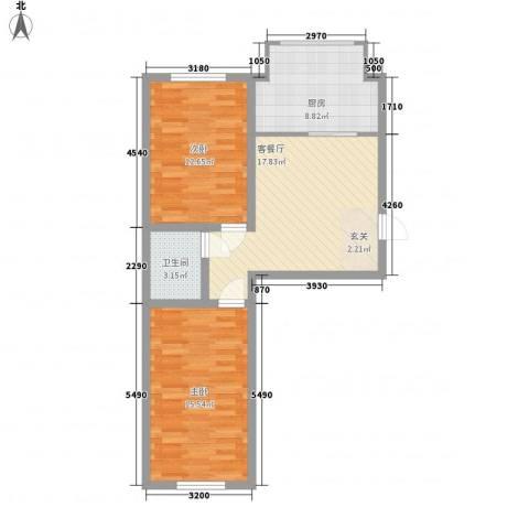 春光嘉园2室1厅1卫1厨83.00㎡户型图
