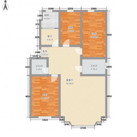 春光嘉园3室2厅2卫1厨136.00㎡户型图