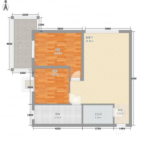 长缨新座2室1厅1卫1厨96.00㎡户型图