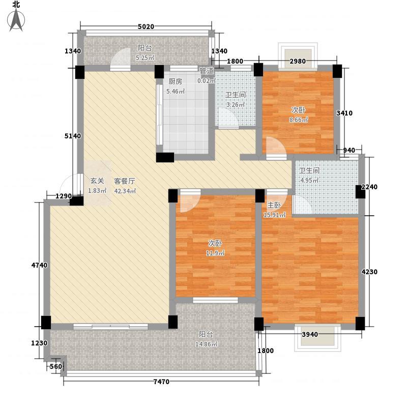 大余盛世嘉园12.80㎡B户型3室2厅2卫
