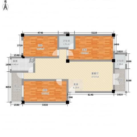 荣明花园3室1厅2卫1厨139.00㎡户型图