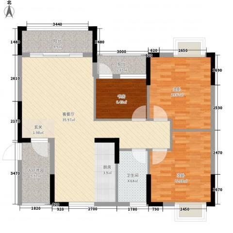 星宇・华成苑3室1厅1卫0厨121.00㎡户型图