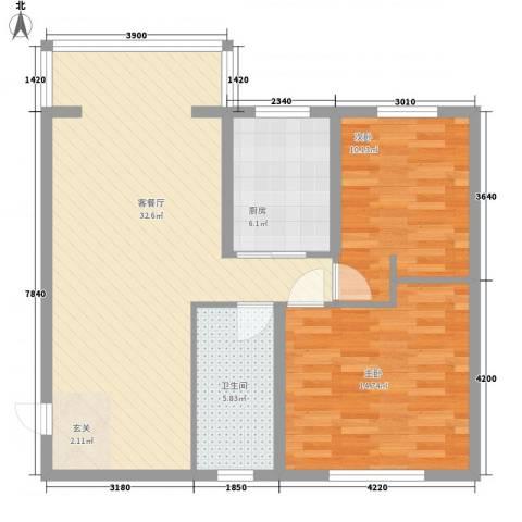 争春花园2室1厅1卫1厨98.00㎡户型图