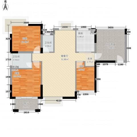 城市主场3室1厅2卫1厨127.00㎡户型图