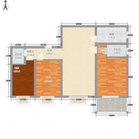 长缨新座3室1厅2卫1厨123.00㎡户型图
