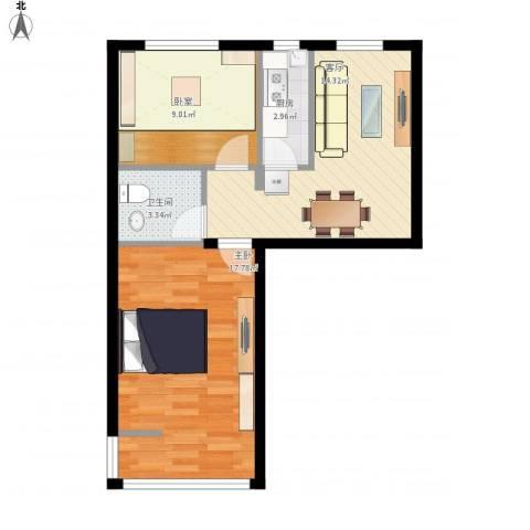 劲松一区1室1厅1卫1厨67.00㎡户型图