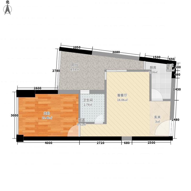 深物业深港1号54.17㎡深物业深港1号户型图2栋A座户型图1室1厅1卫户型1室1厅1卫