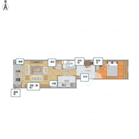 南菜园1号院1室1厅1卫1厨57.00㎡户型图