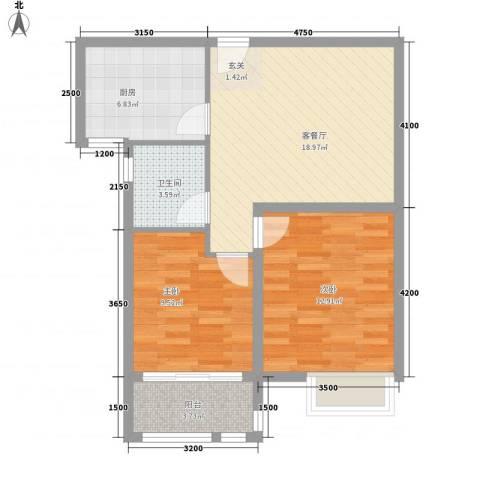 英伦花园2室1厅1卫1厨79.00㎡户型图