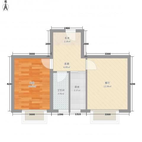 东正富贵雅居1室1厅1卫1厨53.00㎡户型图