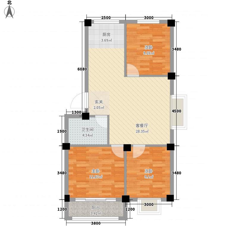 福海桐源【停工停售】83.74㎡23号楼A户型3室2厅1卫1厨