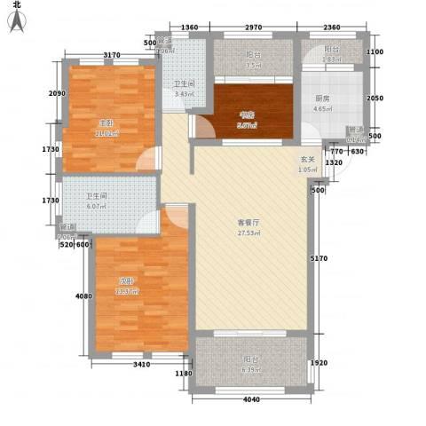 西西那堤三期3室1厅2卫1厨122.00㎡户型图