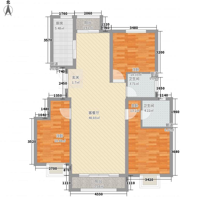 胜芳未来城132.40㎡E户型3室2厅2卫