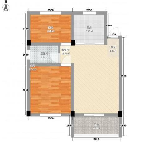 华城新村2室1厅1卫1厨55.31㎡户型图