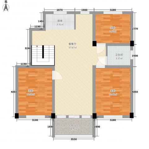 华城新村3室1厅1卫0厨111.00㎡户型图