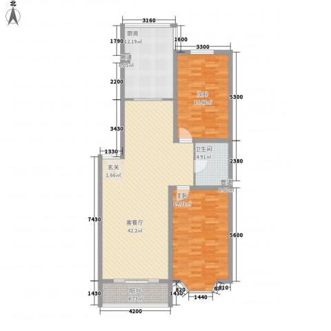 鑫丰雅苑2室1厅1卫1厨110.00㎡户型图
