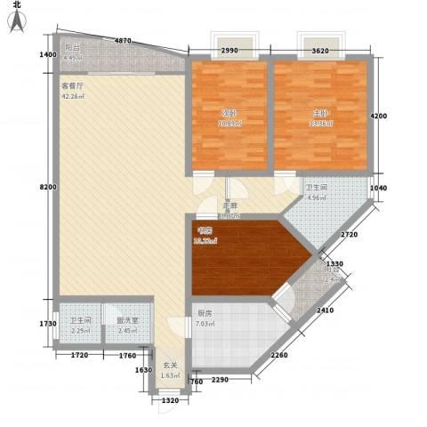 栖霞天韵3室1厅2卫1厨148.00㎡户型图