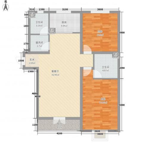 大公馆2室1厅2卫1厨117.00㎡户型图