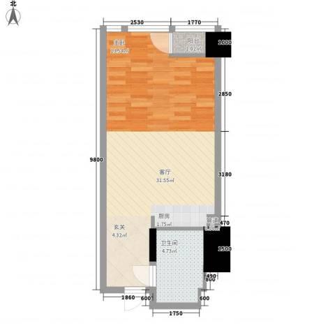 白鹭苑1厅1卫0厨54.00㎡户型图