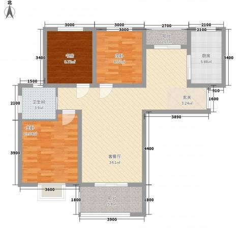 金色家园3室1厅1卫1厨119.00㎡户型图