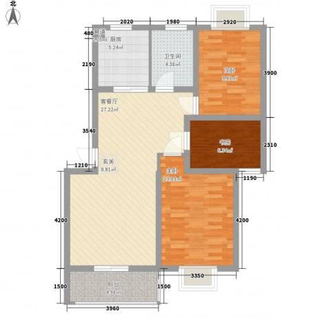 财富广场3室1厅1卫1厨102.00㎡户型图