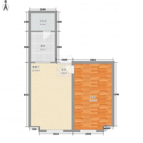 金桥慧景1室1厅1卫1厨68.00㎡户型图