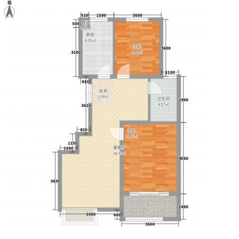 金色家园2室1厅1卫1厨94.00㎡户型图