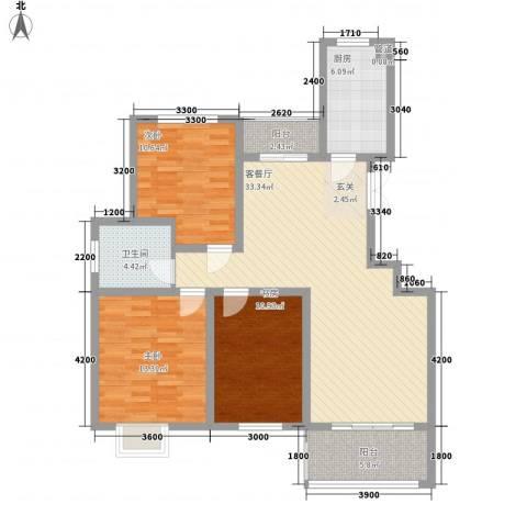金色家园3室1厅1卫1厨125.00㎡户型图