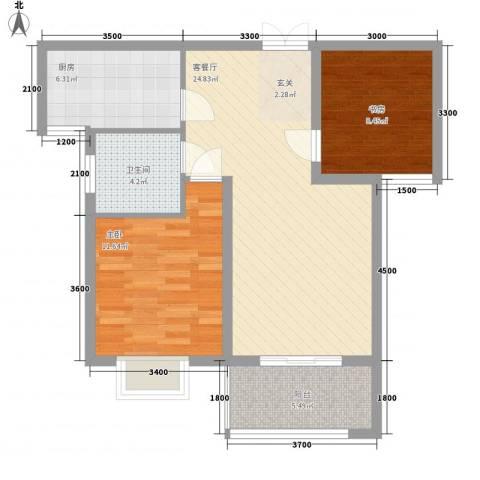 金色家园2室1厅1卫1厨87.00㎡户型图