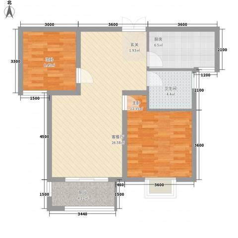 金色家园2室1厅1卫1厨89.00㎡户型图