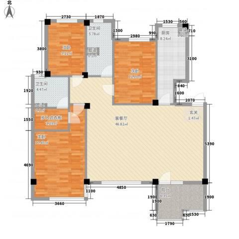 首创・琥珀湾3室1厅2卫1厨158.00㎡户型图