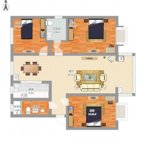幸福小区3室1厅1卫1厨153.00㎡户型图