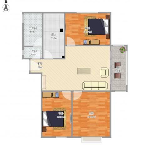 玖玺3室1厅2卫1厨108.00㎡户型图