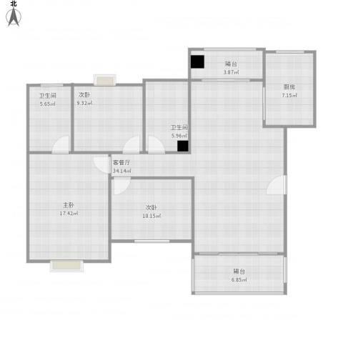 祥和雅筑3室1厅2卫1厨136.00㎡户型图