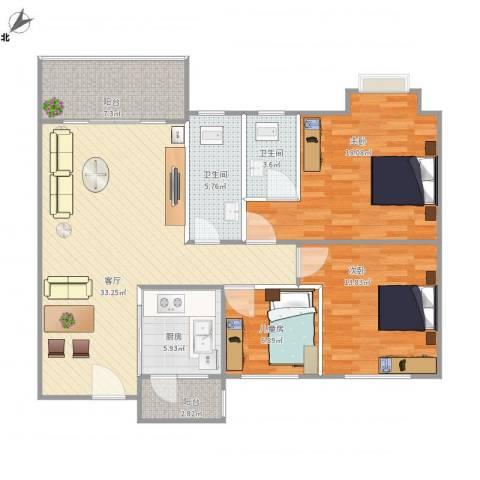 清华园3室1厅2卫1厨131.00㎡户型图