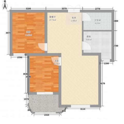 文图花园2室1厅1卫1厨88.00㎡户型图