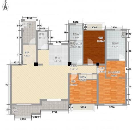 万科琥珀臻园3室1厅3卫1厨157.00㎡户型图
