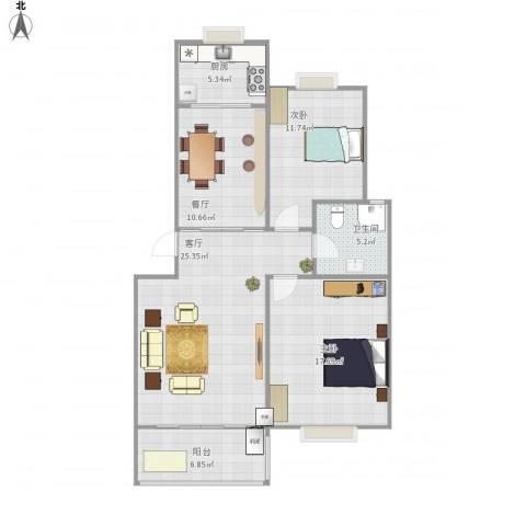 现代汉城2室2厅1卫1厨111.00㎡户型图