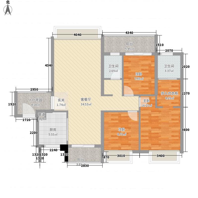 联发滨海名居131.00㎡B户型3室2厅2卫1厨