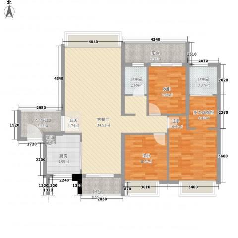 联发滨海名居3室1厅2卫1厨131.00㎡户型图