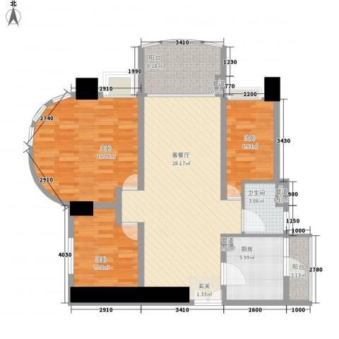 亿海湾3室1厅1卫1厨114.00㎡户型图