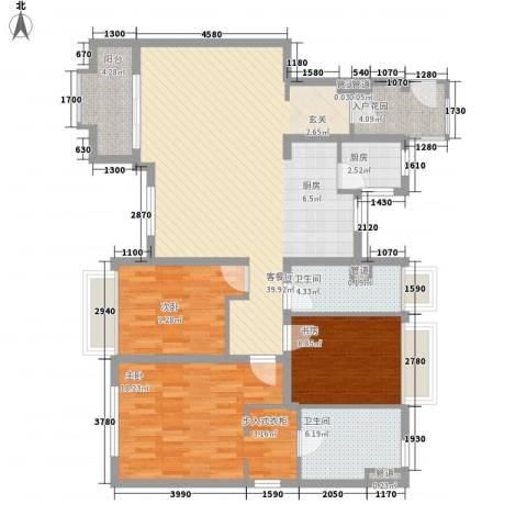 万科琥珀臻园3室1厅2卫1厨155.00㎡户型图