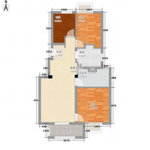 万科琥珀臻园3室1厅1卫1厨95.00㎡户型图
