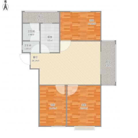 玖玺3室1厅2卫1厨104.00㎡户型图