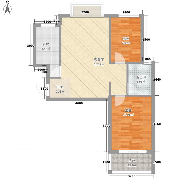 静港清岛湾72.00㎡一期小高层F2户型2室2厅1卫1厨