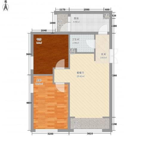 柏林工业园区2室1厅1卫1厨82.00㎡户型图