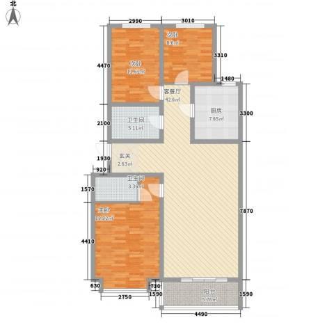 富丽小区3室1厅2卫1厨147.00㎡户型图
