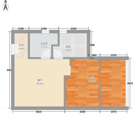 百汇中心独立时代1厅1卫1厨51.00㎡户型图