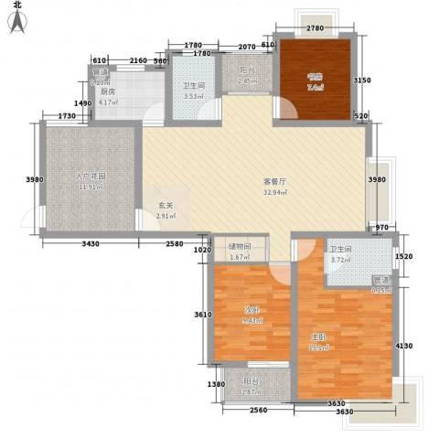 翠园世家3室1厅2卫1厨137.00㎡户型图
